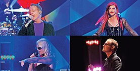 The B-52s live in Athens, Georgia, on February 18, 2011. Left to right, top to bottom: Fred Schneider, Kate Pierson, Cindy Wilson, and Keith Strickland.