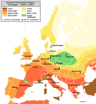 Diffusione della peste bubbonica in Europa (1347 - 1351 ed oltre)