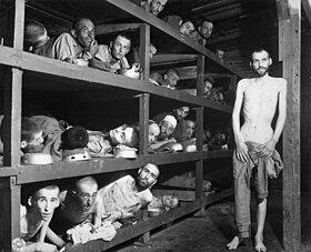 Buchenwaldi túlélők, köztük több magyar. A középső sorban balról a hetedik Elie Wiesel, a későbbi Nobel-békedíjas író.