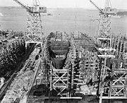 Buckley class destroyer escorts under construction at the Bethlehem Hingham Shipyard, Massachusetts (USA), on 20 January 1943 (BS 85616)