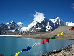 Buddhist Flag flutters in GuruDongmar Lake.JPG