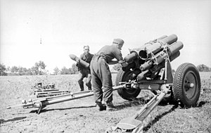 Loading of a 15 cm Nebelwerfer of the Wehrmacht, 1943