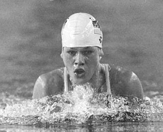 Friendship Games - Sylvia Gerasch (1987 photograph), a 15-year-old, set the world record in women's 100 m breaststroke
