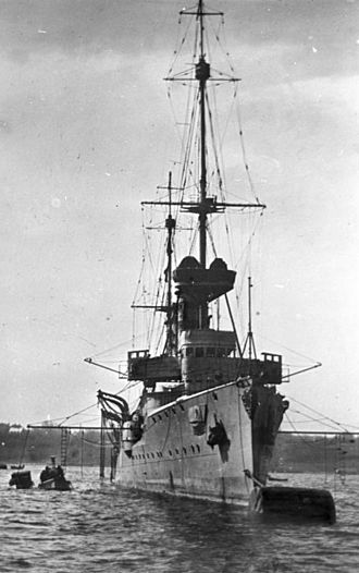 SMS Dresden (1907) - Dresden tied to a mooring buoy, probably before the war
