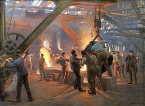 Ironworks - Casting at an iron foundry: From Fra Burmeister og Wain's Iron Foundry, 1885 by Peder Severin Krøyer