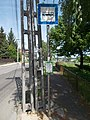 Bus stop and Mary Way sign, Deák Ferenc street, 2018 Paks.jpg