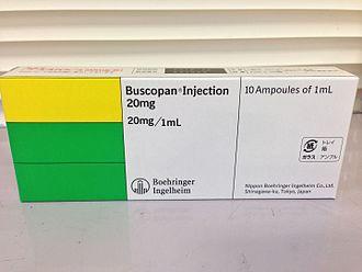 Hyoscine butylbromide - A package of injectable buscopan