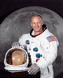 Aldrin posing in his spacesuit