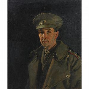 Royal Inniskilling Fusiliers - Portrait of Captain Wood of Royal Inniskilling Fusiliers painted by Sir William Orpen in 1919