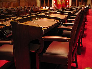 Photo of inside the Canadian Senate chamber