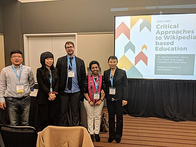"""Matthew Vetter with graduate students presenting an academic panel entitled """"Critical Approaches to Wikipedia-based Education"""" at the Conference on College Composition and Communication (CCCC) in Pittsburgh, Pennsylvania"""
