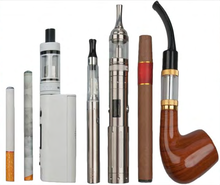 Various types of e-cigarettes, including a disposable e-cigarette, a rechargeable e-cigarette, a medium-size tank device, large-size tank devices, an e-cigar, and an e-pipe.