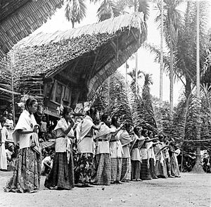 Tongkonan - Dancers perform in front of tongkonan at a Torajan funeral