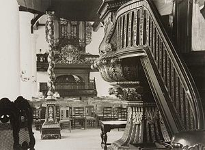 Gereja Sion - Interior and Pipe organ of Zion church in the year 1950