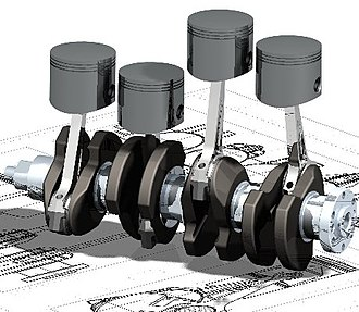 Mechanical engineering - An oblique view of a four-cylinder inline crankshaft with pistons
