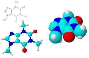 Cafeïne-molecuul. Rood = zuurstof, lichtblau =...