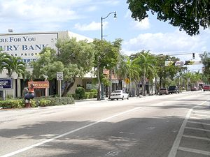 Little Havana - Beginning of Calle Ocho (Tamiami Trail/SW 8th St) in Miami just east of SW 27th Avenue, where 8th Street becomes one-way eastbound.