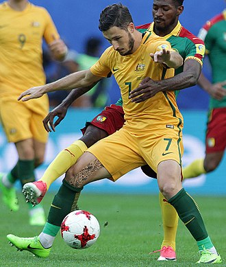 Mathew Leckie - Leckie playing for Australia against Cameroon at the 2017 Confederations Cup