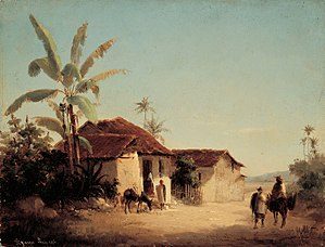 Camille Pissarro - Paisaje tropical con casas rurales y palmeras, c. 1853. Galería de Arte Nacional, Caracas