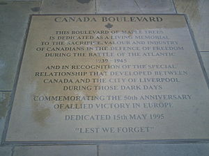 Pier Head - The plaque on Canada Boulevard at the Pier Head