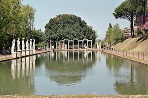 The villa's recreation of Canopus, a resort near Alexandria, as seen from the temple of Serapis