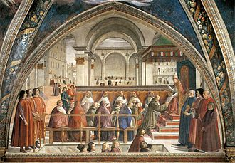 "Franciscans - ""The Confirmation of the Franciscan Rule"" by Domenico Ghirlandaio (1449-1494), Capella Sassetti, Florence."