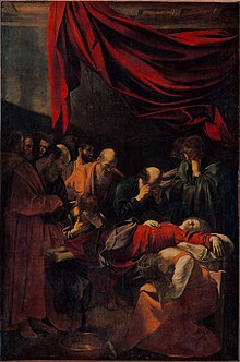 Peinture représentant une femme vêtue de rouge expirant, entourée de nombreuses personnes.