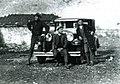 Carleton Coon, Stavre Frashëri, and their chauffeur in northern Albania (1929).jpg