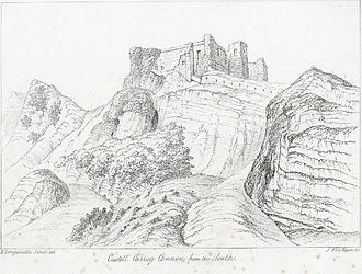 Carreg Cennen Castle - The castle from the South, c1830