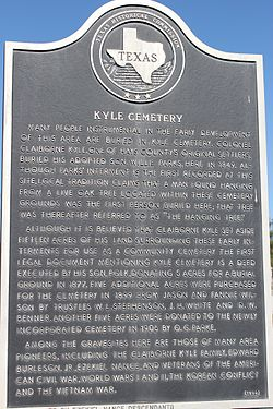 Photo of Kyle Cemetery, Kyle, TX, Willie Parks, Claiborne Kyle, and Polk Roger Kyle black plaque