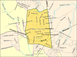 Census Bureau map of Flemington, New Jersey