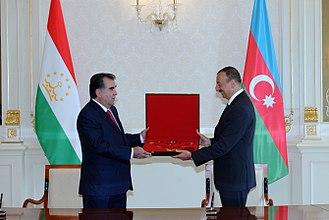 Emomali Rahmon - Rahmon with Ilham Aliyev.