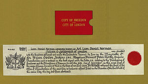 Ari Norman - Certificate of the Freedom of the City of London