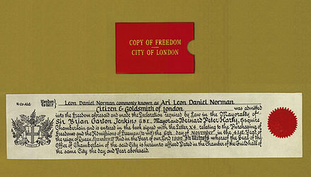 Ari Norman's Certificate of Freedom of the City of London Certificate of Freedom of the City of London for Ari Norman.jpg