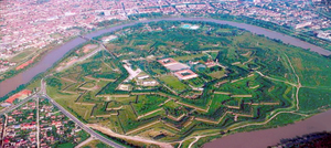 Fortress of Arad - Air view of the Fortified Town of Arad (Romania, Arad Town), in the form of a shield with the hexagram in middle, with six corners, built with three rows of underground pillboxes and several trenches which in past could be flooded.