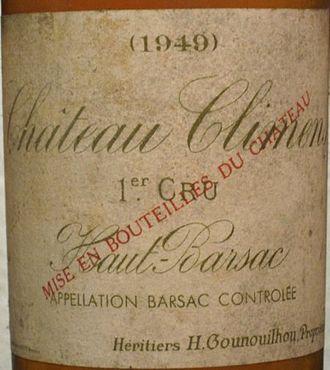 Château Climens - Detail of a Château Climens 1949 label