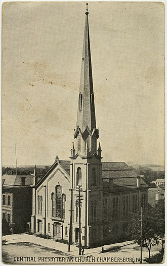 Chambersburg, Pennsylvania - Central Presbyterian Church on the Diamond (town square) in an old postcard