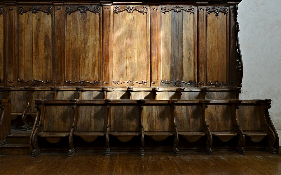 Detail of the choir stalls of the abbey church (12th-17th centuries) of Chancelade, Dordogne, France
