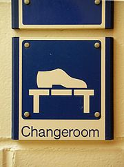 Changeroom symbol on sign close up