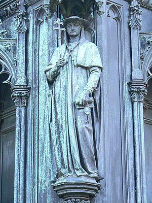 Jan Očko of Vlašim - Jan Očko z Vlašimi as a cardinal (detail of the pedestal of the statue of Charles IV; Křižovnické Square, Prague)