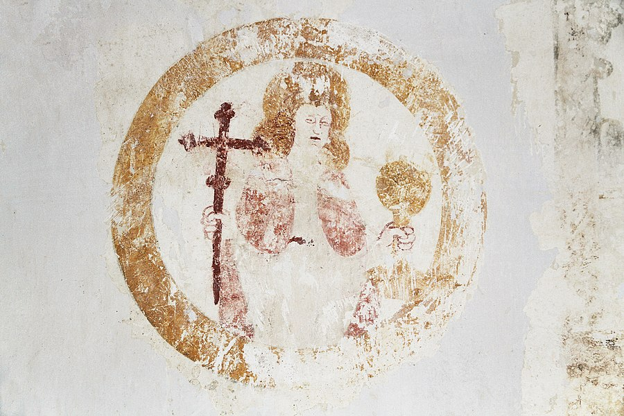 Mural of John the Apostle in the church of Chaugey