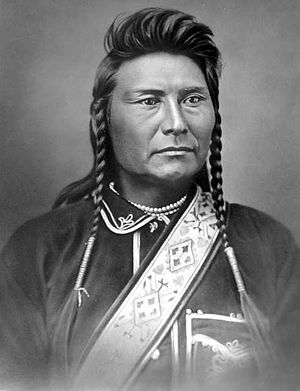 Nez Perce in Yellowstone Park - The Nez Perce leader Chief Joseph in 1877.