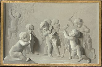 François Duquesnoy - Children Playing with a Goat is one of several copies after his bas-relief of putti playing with a he-goat, which became quite popular with Dutch artists.
