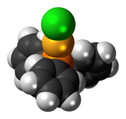Space-filling model of the chloro(triphenylphosphine)gold(I) molecule