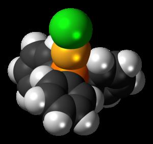 Chloro(triphenylphosphine)gold(I) - Image: Chloro(triphenylphos phine)gold(I) 3D spacefill