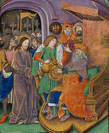 d27096648 Christ before Pilate, with Pilate washing his hands, 16th century  illuminated manuscript