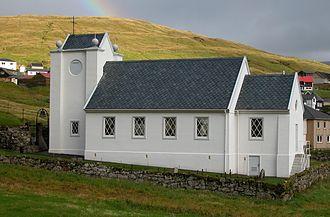 Hósvík - Image: Church of Hósvík, Faroe Islands