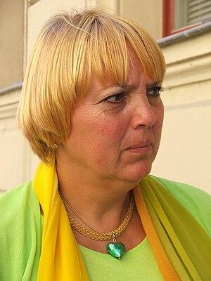 Deutsch: Claudia Roth während einer Wahlkampfr...