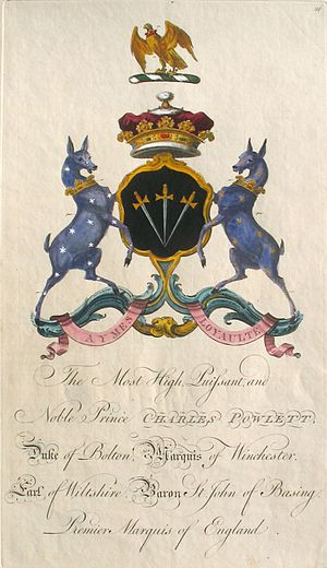 Charles Powlett, 5th Duke of Bolton - Coat of arms of 'The Most High, Puissant, and Noble Prince Charles Powlett, Duke of Bolton, Marquis of Winchester, Earl of Wiltshire, Baron St. John of Basing, Premier Marquis of England', by Sir William Segar and Joseph Edmondson, 1764.