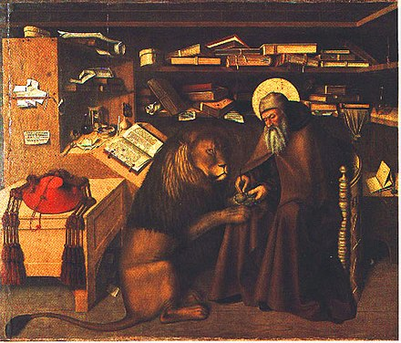 Painting by Niccolo Antonio Colantonio, showing Jerome's removal of a thorn from a lion's paw. Colantonio, Jerome in his Study.jpg